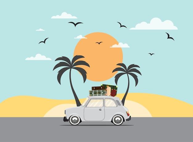 Mit dem auto reisen. ausflug. zeit zu reisen, tourismus, sommerferien. flache designillustration