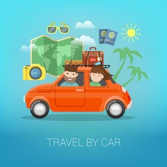 Mit dem auto reisen. glückliches paar, das mit gepäck im auto reist.