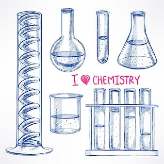Mit den chemikalienkolben einstellen