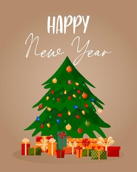 Mit einem weihnachtsbaum und verschiedenen kisten mit geschenken. geeignet für postkarten