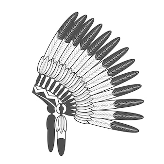 Mit federn versehene mütze des amerikanischen ureinwohners