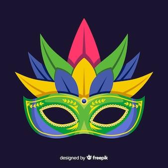 Mit federn versehener brasilianischer karnevalshintergrund der maske