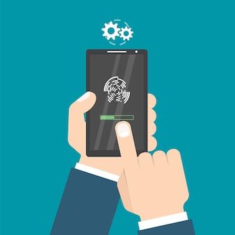 Mit fingerabdruckknopf entsperrt. zugang per finger. hände mit smartphone. benutzerautorisierungskonzept. illustration.