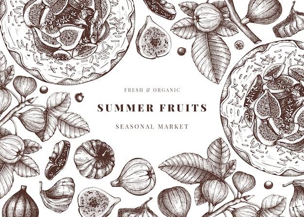 Mit handgezeichneten feigenskizzen. weinleserahmen mit botanischer illustration des feigenzweigs, frisch und trocknet obst, backkuchen. retro-schablone mit sommernahrungsmittelelementen.