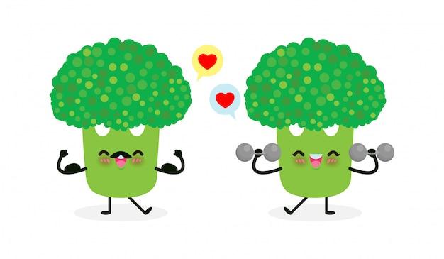 Mit hanteln und starkem brokkoli zeigen muskel. essen gesundes essen und fitness, lustiges gemüsecharakter-sportkonzept lokalisiert auf weißem hintergrundvektor