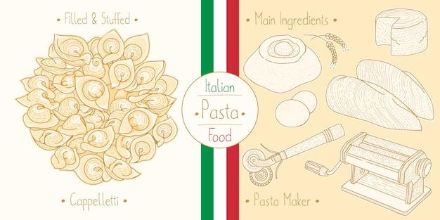 Mit italienischem essen gefüllte cappelletti-nudeln mit füllung, zutaten und ausrüstung