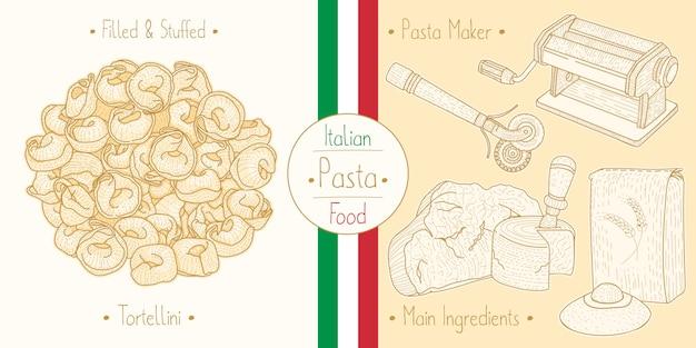 Mit italienischem essen gefüllte tortellini-nudeln mit füllung, zutaten und ausrüstung