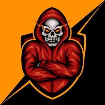 Mit kapuze schädel, maskottchen-esport-logo-vektor-illustration