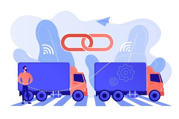 Mit konnektivitätstechnologien zu einem zug verbundene lastwagen