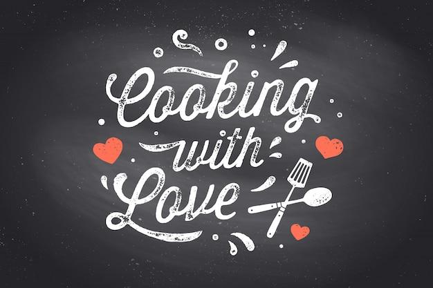 Mit liebe kochen. küchenplakat. küchenwanddekor, zeichen, zitat