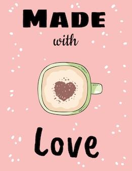Mit liebe tasse kaffee mit herz zimtpulver gemacht. hand gezeichnete karikaturartpostkarte