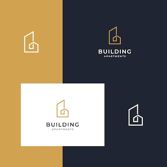 Mit liniendesigns inspirierende logo-designs erstellen Premium Vektoren