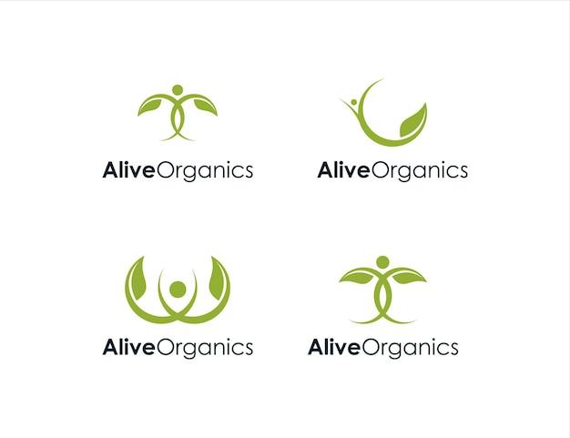 Mit menschen und blättern organisch lebendig werden lassen einfaches kreatives geometrisches schlankes modernes logo-design