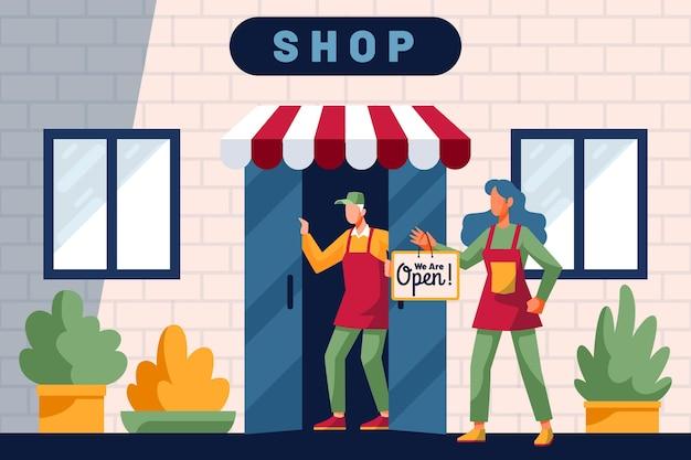 Mit offenem schild einkaufen
