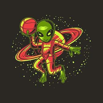 Mit planetenhintergründen aliens illustration
