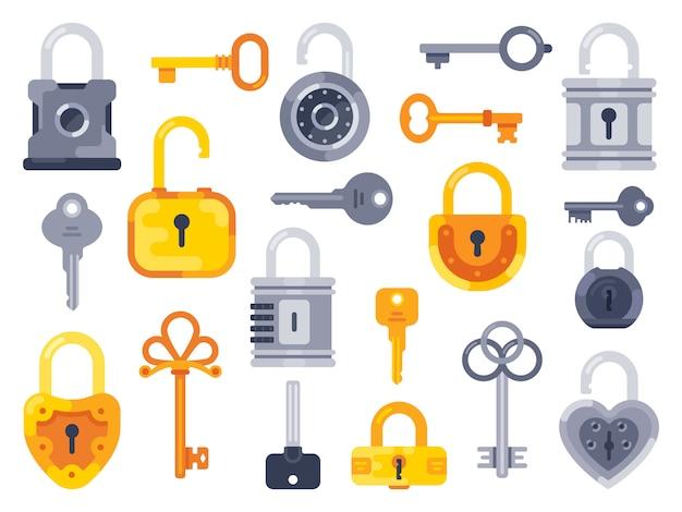 Mit schlüsseln abschließen. goldener schlüssel, zugangsvorhängeschloß und geschlossene sichere vorhängeschlösser lokalisierten flachen satz