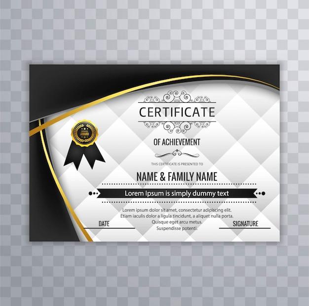 Mit schwarzen wellenförmigen formen modernes zertifikatdesign