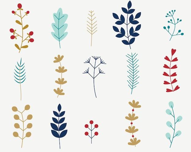 Mit winterlichen dekorativen pflanzen und blumen