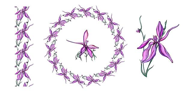 Mit zarten violetten wildblumen besetzt.