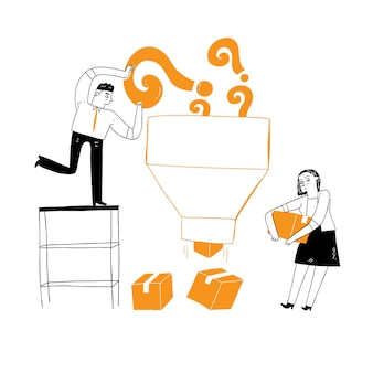 Mitarbeiter arbeiten, geschäftsideen, herausforderungen, risiken, erfolg. vektorillustration