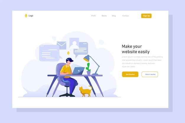 Mitarbeiter arbeiten laptop-computer-aufgabe landing page business finance flachen farbverlauf-stil illustration