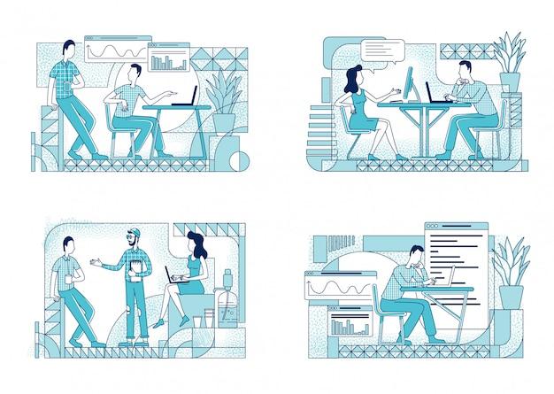 Mitarbeiter bei der arbeit flache silhouette illustrationen gesetzt. arbeiter mit computern im büro umreißen zeichen auf weißem hintergrund. geschäftsleute diskutieren projekt einfach stil zeichnungen paket