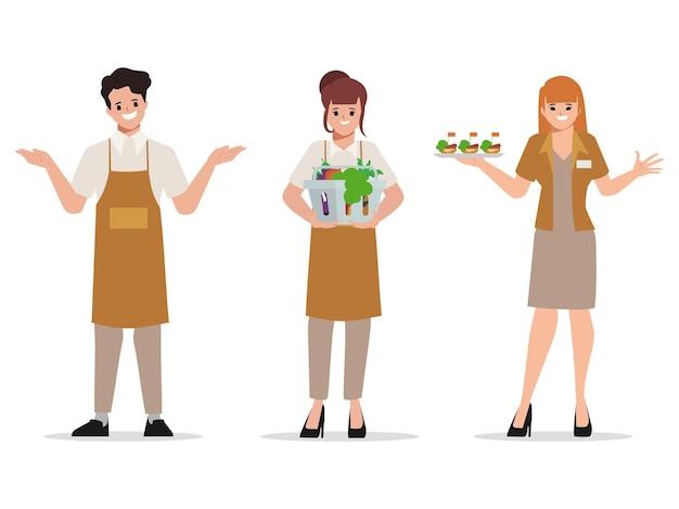 Mitarbeiter charakter im lebensmitteleinkauf und kundenservice im kaufhaus supermarkt
