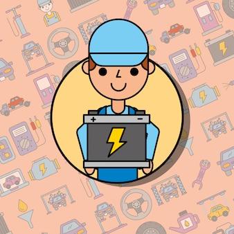 Mitarbeiter, der die wartung des batterie-autoservice hält
