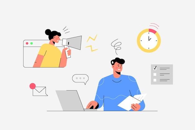 Mitarbeiter, der im büro innenarbeitsplatz flache vektorillustration arbeitet
