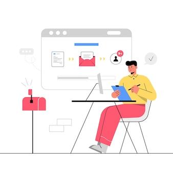 Mitarbeiter, der im büro mit computer arbeitet und dateiübertragung durchführt. dateien online senden