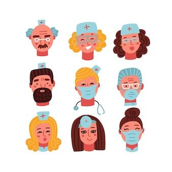 Mitarbeiter der medizinischen klinik flache avatare von ärzten krankenschwestern chirurgen stellen vektorkarikaturporträts kontopro...