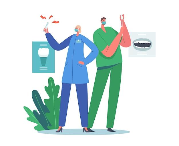 Mitarbeiter der zahnarztpraxis bei der arbeit. stomatologie, zahnmedizin-konzept. zahnärzte mit ausrüstung für die behandlung von zahnkaries. ärzte mit anästhesie in spritze und pinzette im kabinett. cartoon-vektor-illustration