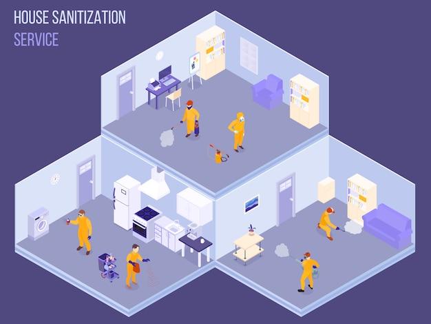 Mitarbeiter des hausdesinfektionsdienstes in schutzuniform während der isometrischen vektorillustration der desinfektionsarbeiten