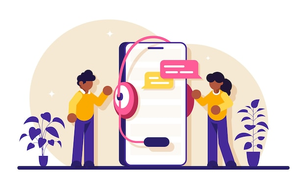 Mitarbeiter des technischen supports stehen in der nähe eines großen telefons mit einem headset. häufig gestellte fragen. kommunikation mit mitarbeitern.