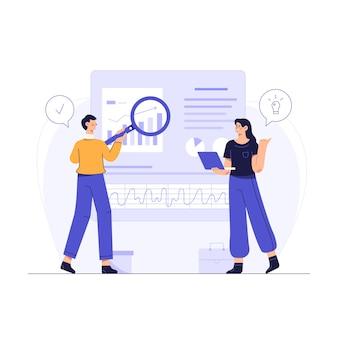 Mitarbeiter des unternehmens verwenden die websuche, um ideen für die geschäftstätigkeit des unternehmens zu finden