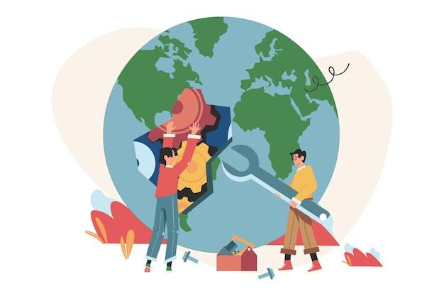 Mitarbeiter, die müll recyceln, den planeten retten, energie sparen