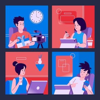 Mitarbeiter, die von zu hause aus arbeiten