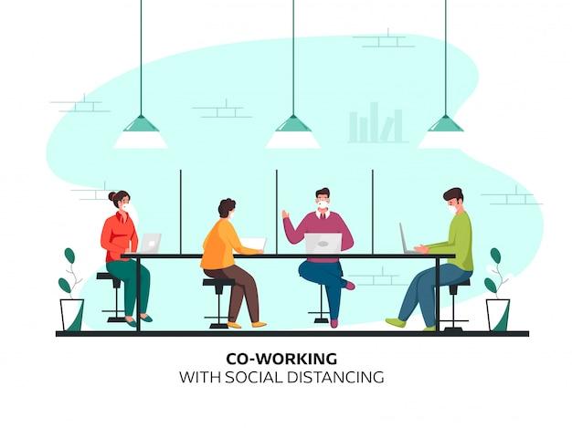 Mitarbeiter diskutieren am arbeitsplatz, während sie mit einer schutzmaske abstand halten, um coronavirus zu vermeiden.
