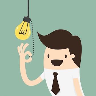 Mitarbeiter einschalten einer lampe