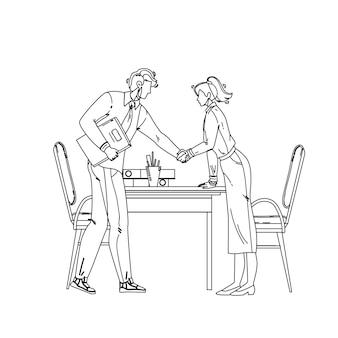 Mitarbeiter einstellung direktor begrüßung frau schwarze linie bleistiftzeichnung vektor. chef-mann-händeschütteln-mädchen-handarbeitskraft, die im büro anstellt. charaktere chef und angestellter kollege in eleganter anzugillustration