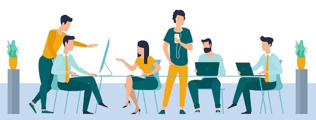 Mitarbeiter kommunizieren im büro mann und frau im coworking open space vor dem fenster flaches designkonzept des büroarbeitsbereichs teamwork kreative kommunikation
