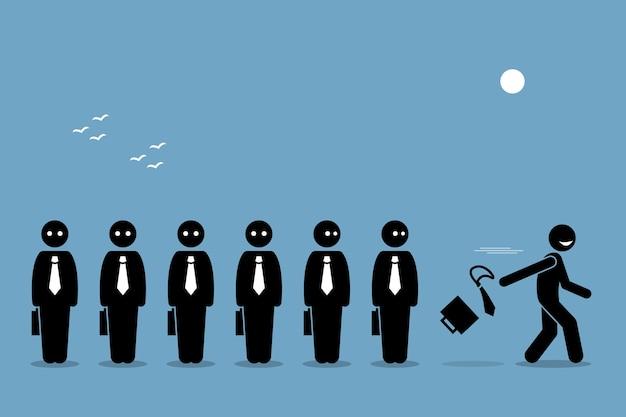 Mitarbeiter kündigen und treten von seinem job zurück. konzept des strebens nach glück.