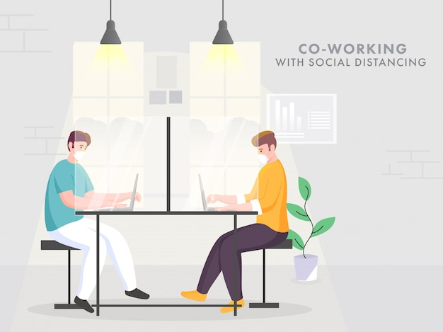Mitarbeiter männer tragen eine schutzmaske am büroarbeitsplatz, um soziale distanz zu bewahren und coronavirus zu vermeiden.