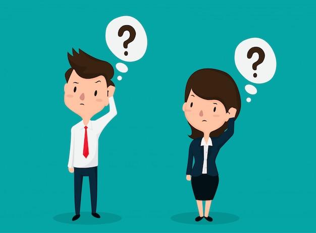 Mitarbeiter männer und frauen stehen vor einer betäubten frage