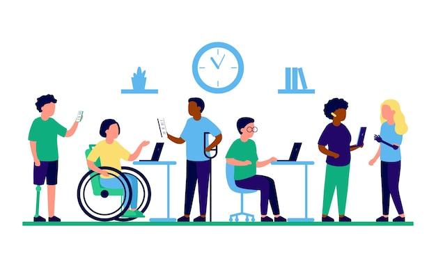 Mitarbeiter menschen mit behinderungen und inklusion arbeit im büro behinderte verschiedene menschen