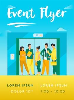 Mitarbeiter mit bürogebäude lift flyer vorlage