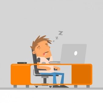 Mitarbeiter schlafen auf seinem arbeitsplatz