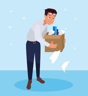 Mitarbeiter verlässt den arbeitsplatz aufgrund von arbeitslosigkeit oder das unternehmen schließt.