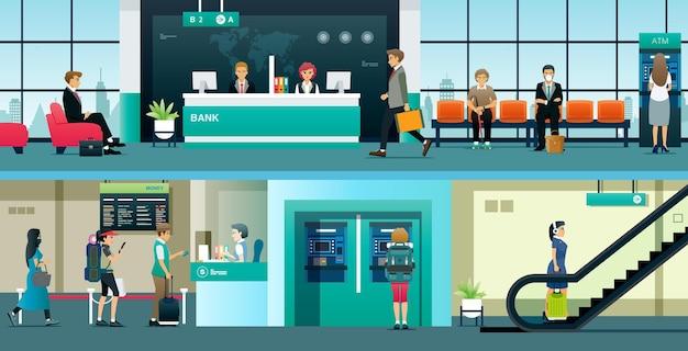 Mitarbeiter von banken und finanzinstituten dienen den bürgern beim geldwechsel