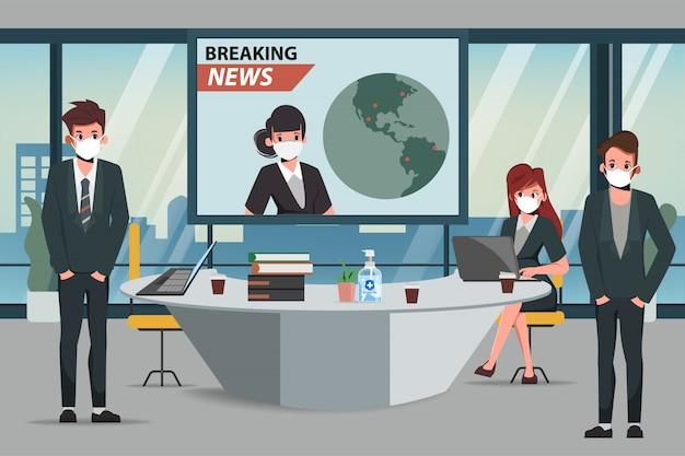 Mitarbeiter von geschäftsbüros pflegen einen sozial distanzierten besprechungsraum. informieren sie sich über neuigkeiten auf dem bildschirm. neuer normaler lebensstil im beruf.